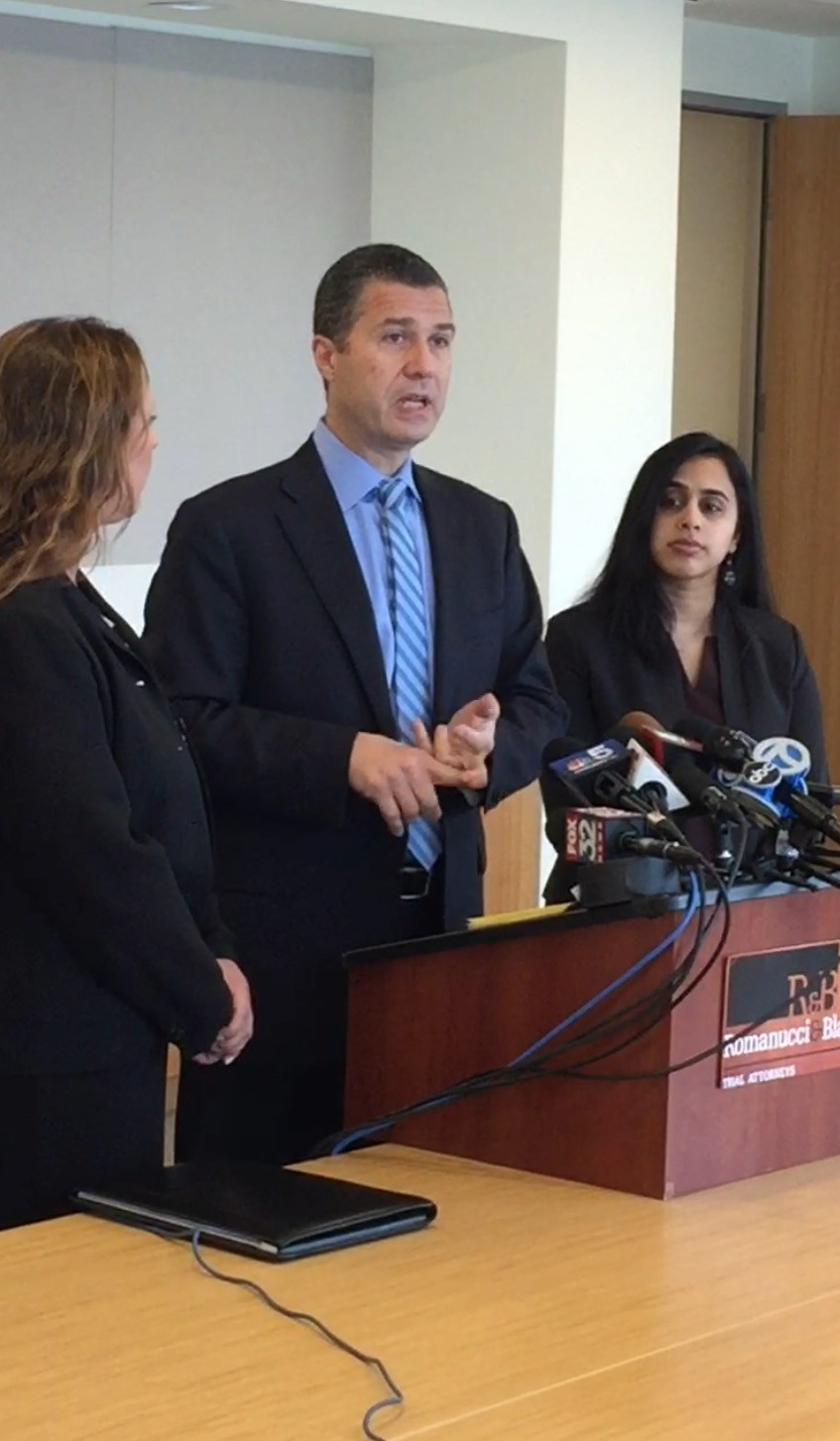 Chicago Personal Injury Law Firm Romanucci & Blandin announce Lawsuit on behalf of parents of Lake Zurich High School students for acts of hazing and bullying. Left to right are attorney Gina A. DeBoni, lead attorney Antonio Romanucci and attorney Bhavani Raveendran.