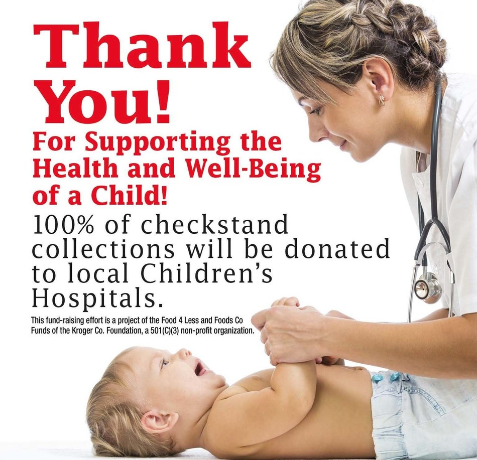 From February 1 to May 26, 2017, customers can support local children's hospitals by donating their spare change in the canisters located at the checkstands in their neighborhood Foods Co supermarket.