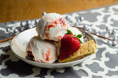 Premium Strawberry Cheesecake ice cream made with PreGel Bases and Flavorings for Gelato, Sorbetto, & Ice Cream
