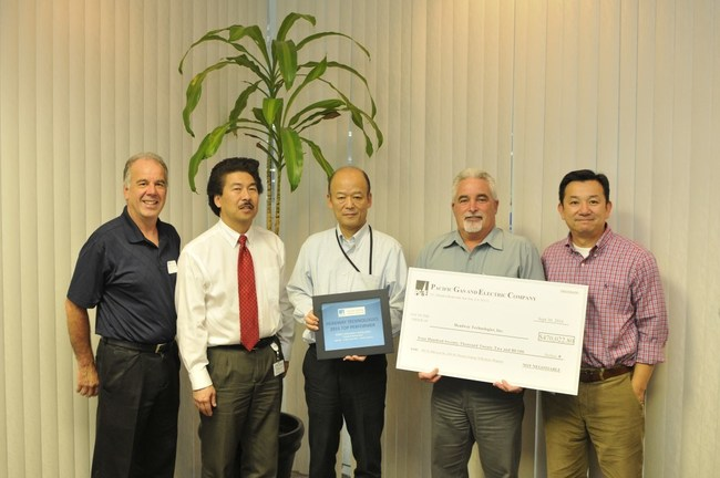 Comfort International saves over $515K per year under a 2 year ROI which also provided their client Headway/TDK a rebate of $470K. Photo Caption: From left to right: Helder Sherpa (PG & E), Alan Pong (Comfort International), Yoshiro Nakagawa/Michael Greene/Tony Vu (TDK/Headway) honored TDK with a special commendation for 2016 Top Performer for the outstanding energy savings achieved.  PG&E executives presented the $470,022 rebate to TDK/Headway in a special ceremony at TDK's Milpitas headquarters.