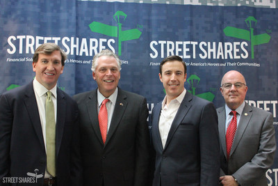 Virginia Governor McAuliffe visited the StreetShares office today to discuss his shared passion for veteran entrepreneurship. Mark L. Rockefeller, CEO and Co-Founder of StreetShares accepted the Virginia Values Veterans Award. (From left: Ross Brown, Managing Director, Head of Military and Veterans Affairs at JPMorgan Chase; Virginia Governor Terry McAuliffe; Mark L. Rockefeller, CEO and Co-Founder of StreetShares; Secretary John Harvey, Virginia Secretary of Veterans and Defense Affairs)