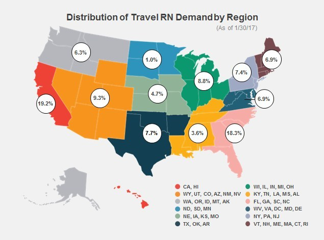 Aya Healthcare Distribution of Travel RN Demand by Region