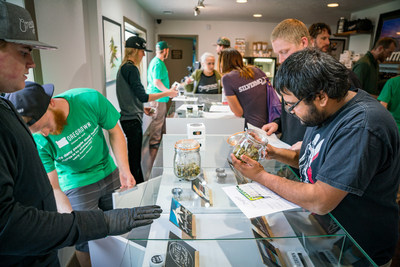 Customers at the flagship Oregrown dispensary in Bend, Oregon.