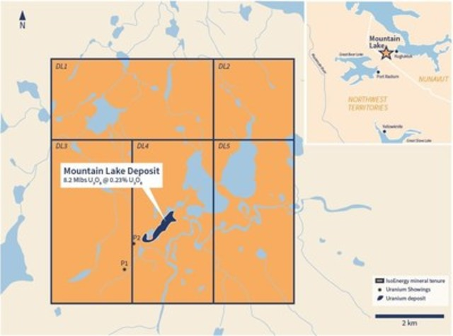 Figure 1 – Mountain Lake Property Claims and Deposit Outline (CNW Group/IsoEnergy Ltd.)