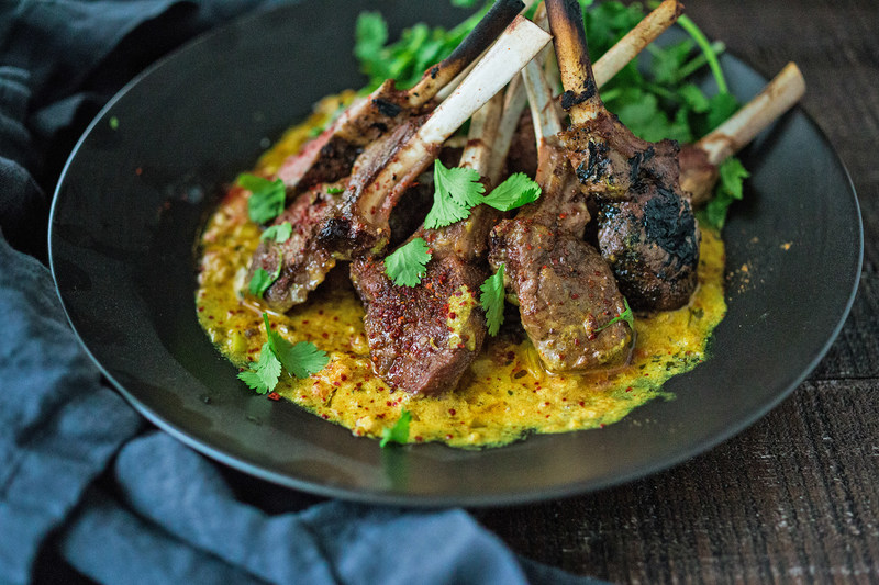 Roasted Lamb Chops with Fragrant Indian Fenugreek Sauce (Photo Courtesy of American Lamb Board)