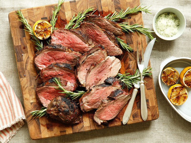 Grilled Butterflied Leg of Lamb with Rosemary Sea Salt and Charred Lemons (Photo Courtesy of American Lamb Board)