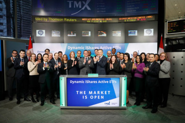 Warren Collier, Head of iShares, BlackRock Canada, alongside Jordy Chilcott, President & CEO, Dynamic Funds, joined Ungad Chadda, President, Capital Formation, Equity Capital Markets, TMX Group to open the market in partnership to launch a new suite of five Exchange Traded Funds (ETFs): Dynamic iShares Active Preferred Shares ETF (DXP); Dynamic iShares Active Crossover Bond ETF (DXO); Dynamic iShares Active Global Dividend ETF (DXG); Dynamic iShares Active U.S. Dividend ETF (DXU); and Dynamic iShares Active Canadian Dividend ETF (DXC). Dynamic Funds is a division of 1832 Asset Management L.P. iShares Funds are managed by BlackRock Asset Management Canada Limited. DXP; DXO; DXG; DXU; and DXC commenced trading on Toronto Stock Exchange on January 25, 2017. (CNW Group/TMX Group Limited)