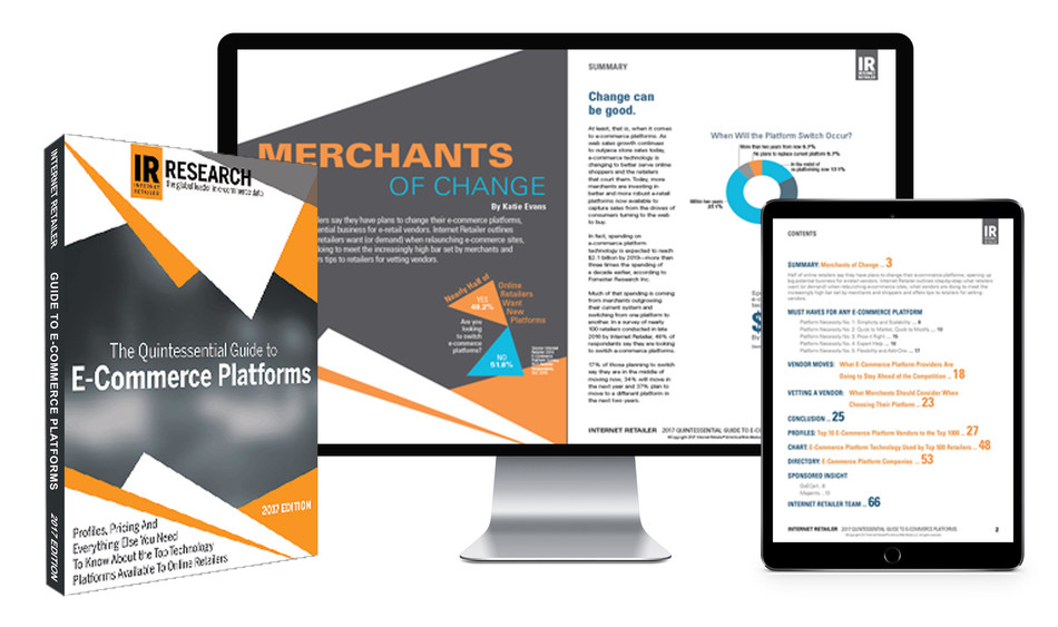 The Quintessential Guide to E-Commerce Platforms: Profiles, pricing and everything else you need to know about the top technology platforms available to online retailers.  This report highlights step-by-step what retailers want when relaunching e-commerce sites, what vendors are doing to meet the increasingly high bar set by merchants and shoppers, and offers tips to retailers for vetting vendors.