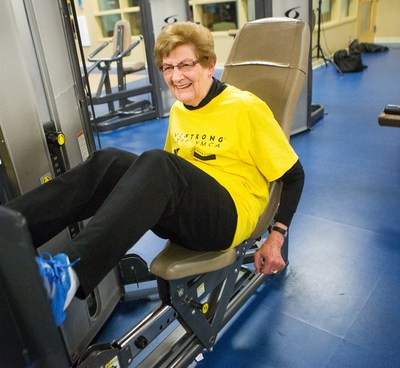 "88-YEAR-OLD PUMPS IRON WHILE BATTLING CANCER -- Need inspiration for your 2017 fitness resolution? Meet 88-year-old ""gym rat"" Sue Bosze of Grand Rapids, Mich. While fighting her second cancer, Sue joined a YMCA exercise program for cancer survivors underwritten by The Metro Health Hospital Foundation. It was her first time ever in a gym. Today, battling skin cancer isn't stopping her from weekly workouts, including leg pressing 150 pounds. ""As long as I can go to the gym, I'm going to go."""