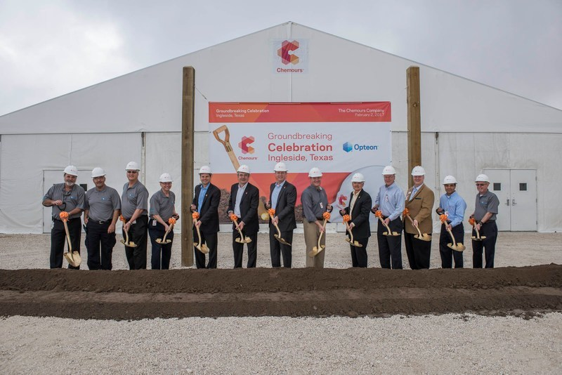 Industry-photo Chemours executives and local officials break ground on the new Opteon(TM) refrigerants facility located at the Chemours Corpus Christi plant in Ingleside, TX. The facility will triple capacity of Chemours low global warming potential (GWP), HFO-1234yf-based refrigerant products