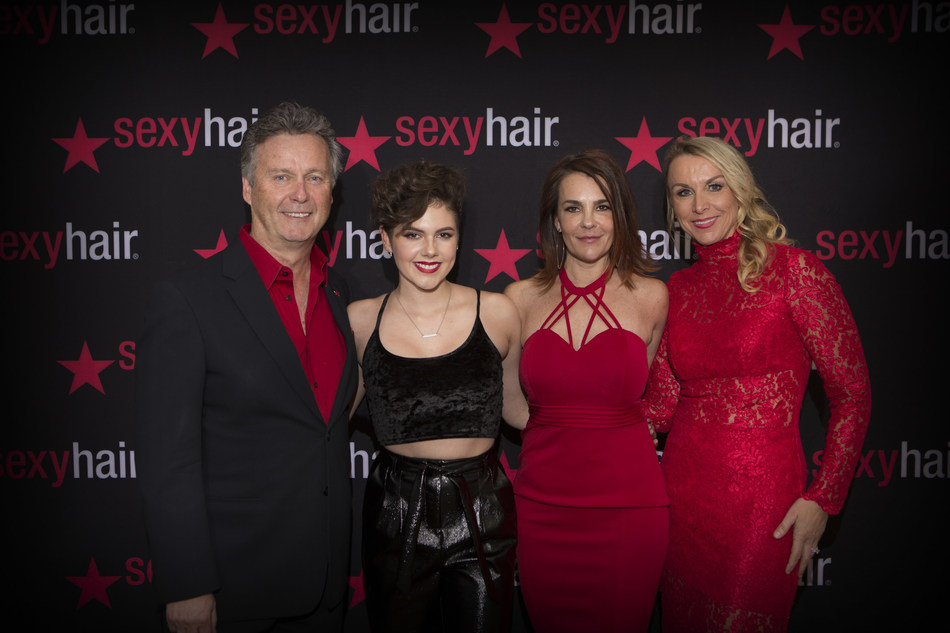 """Sexy Hair team celebrates with Look Good Feel Better Dream Girl, Caly Bevier. From Left to Right: Karl-Heinz Pitsch, President and CEO of Sexy Hair; Caly Bevier, America's Got Talent Finalist, LGFB Dream Girl and cancer survivor; Sloane LaMartina, Director of Corporate Communications; Jennifer Weiderman, VP of Marketing and Education"""