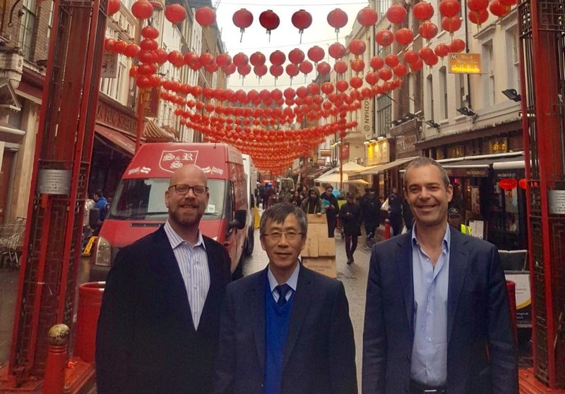Image caption: From L to R: Eric Hallerberg, managing director, UK & Ireland, Sabre; Dr. Mingliang Chen, chairman, Omega Travel; Stephane Aita, vice president, Western Europe, Sabre