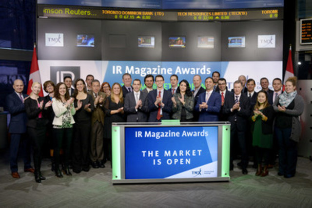 Winners and nominees of the 20th annual IR Magazine Awards - Canada, along with IR Magazine representatives, will join Loui Anastasopoulos, President, TSX Trust and Managing Director, TSX Company Services, TMX Group to open the market on Friday, February 3, 2017. For a quarter-century the IR Magazine Awards have honoured excellence and leadership in investor relations around the world. The IR awards were presented on February 2nd at The Carlu in Toronto. (CNW Group/TMX Group Limited)