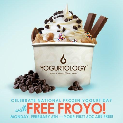 Yogurtology is giving free froyo for National Frozen Yogurt Day