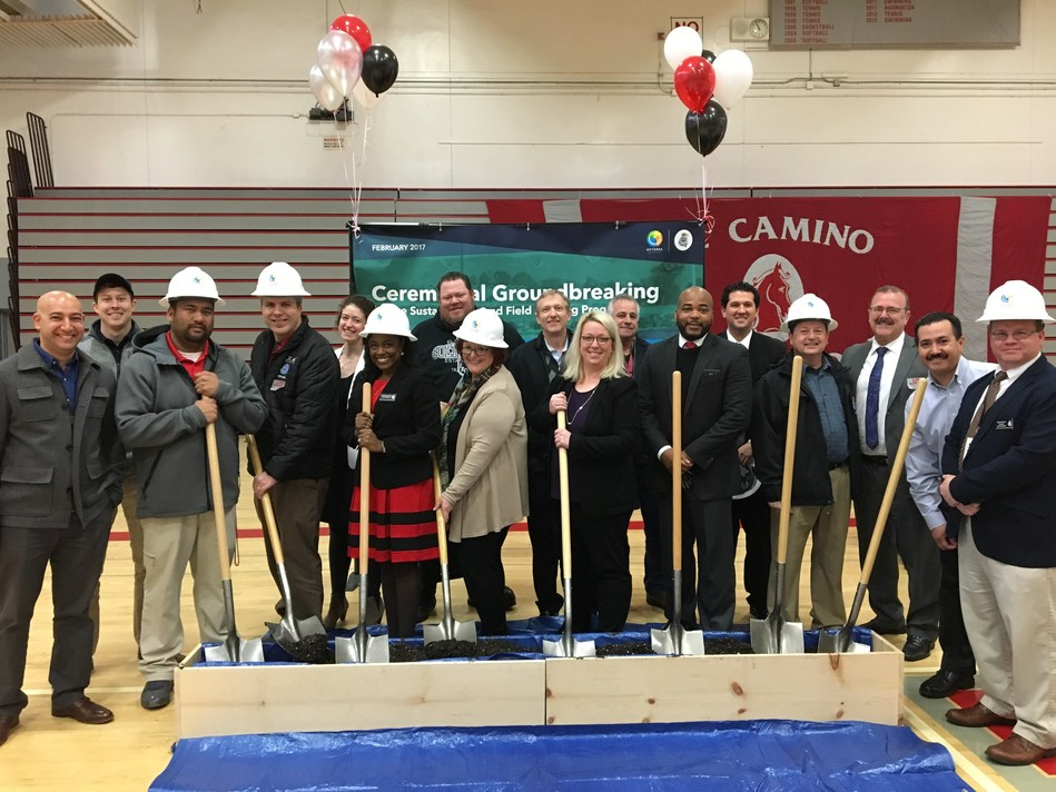SSFUSD LED Stadium Lighting Groundbreaking with District leaders and OpTerra team
