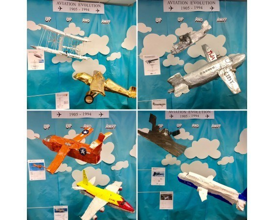 Students utilized 1,244 Hiland Dairy Milk cartons to illustrate the evolution of U.S. Aviation