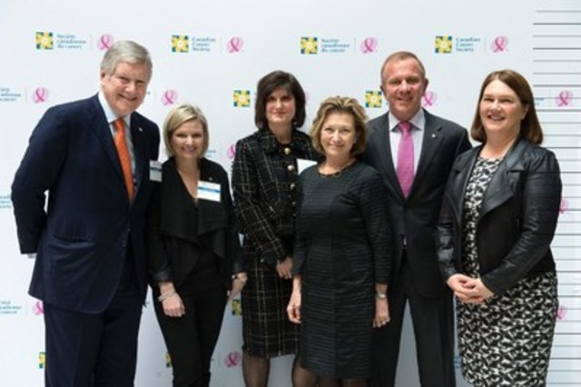 Celebrating a collaborative $12 million donation from Peter Gilgan, together with the Canadian Cancer Society to establish The Peter Gilgan Centre for Women's Cancers at Women's College Hospital: From left to right, Rob Lawrie, chair of the board of directors of the Canadian Cancer Society; Lynne Hudson, president & CEO of the Canadian Cancer Society; Katherine Hay, president & CEO of Women's College Hospital Foundation; Marilyn Emery, president & CEO of Women's College Hospital; Peter Gilgan, philanthropist; and The Honourable Jane Philpott, PC MP, Minister of Health. Photographer credit: Salvatore Sacco (CNW Group/Women's College Hospital Foundation)