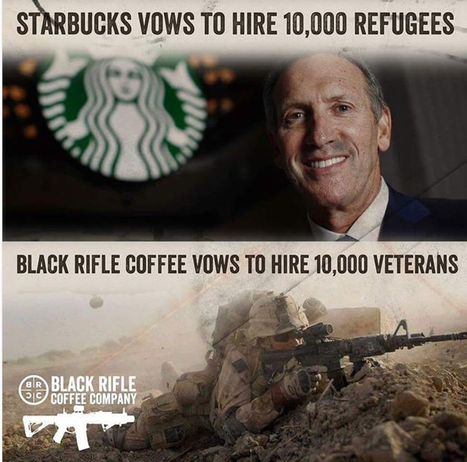 Veteran-owned and operated Black Rifle Coffee Company encourages 10,000 veterans to seek employment, training and or aid through them directly, as Starbucks has failed the military community in the hiring space.