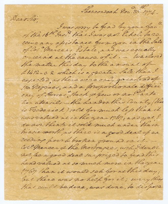 Front page of George Washington's letter that would haunt him for the rest of his life: Penned the day before Congress vowed to stop the slave trade, Washington writes of his auction of 90 slaves for a friend. Washington's views on slavery continued to change, furthered by the Revolution just months away. In Feb. 22, 2017 auction, https://cohascodpc.com, Lot 5-1.