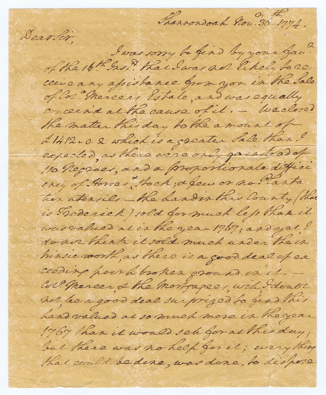 Front page of George Washington's letter that would haunt him for the rest of his life: Penned the day before Congress vowed to stop the slave trade, Washington writes of his auction of 90 slaves for a friend. Washington's views on slavery continued to change, furthered by the Revolution just months away. In Feb. 22, 2017 auction, http://cohascodpc.com, Lot 5-1.