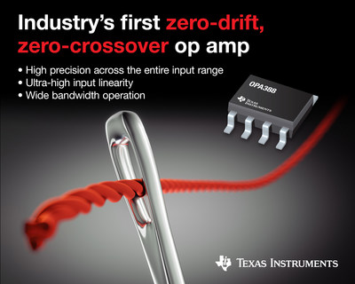 Achieve true precision with the industry's first zero-drift, zero-crossover operational amplifier. The OPA388 op amp maintains high precision across the entire input range for a variety of industrial applications, including test and measurement, medical and safety equipment, and high-resolution data-acquisition systems.