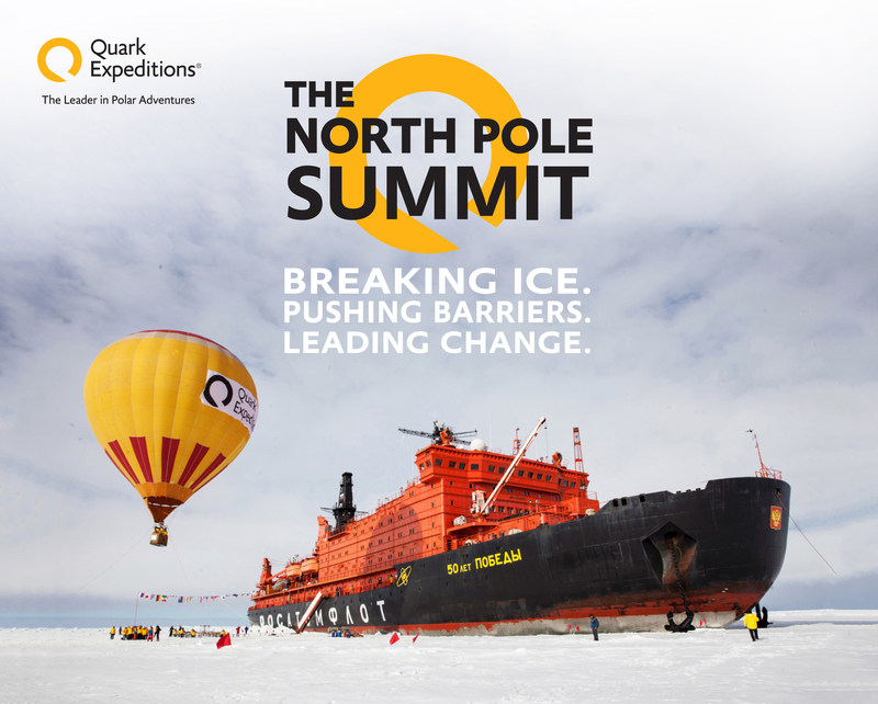 Quark Expeditions North Pole Summit expedition. Quark Expeditions is hosting 7 exceptional guest speakers at the ultimate meeting of the minds this summer on a trip to the North Pole, on board the world's most powerful nuclear icebreaker. Experience mighty icebreaker 50 Years of Victory on this epic, singular event as part of a cruise to 90 North! (PRNewsFoto/Quark Expeditions)