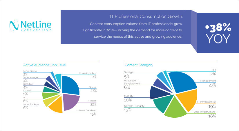 Powerful insights for IT Marketers into topic specific content segments including: IT data tools, enterprise applications, infrastructure, security, and storage to optimize lead generation strategies - 2017 State of Information Technology: Content Consumption and Demand Report by NetLine Corporation