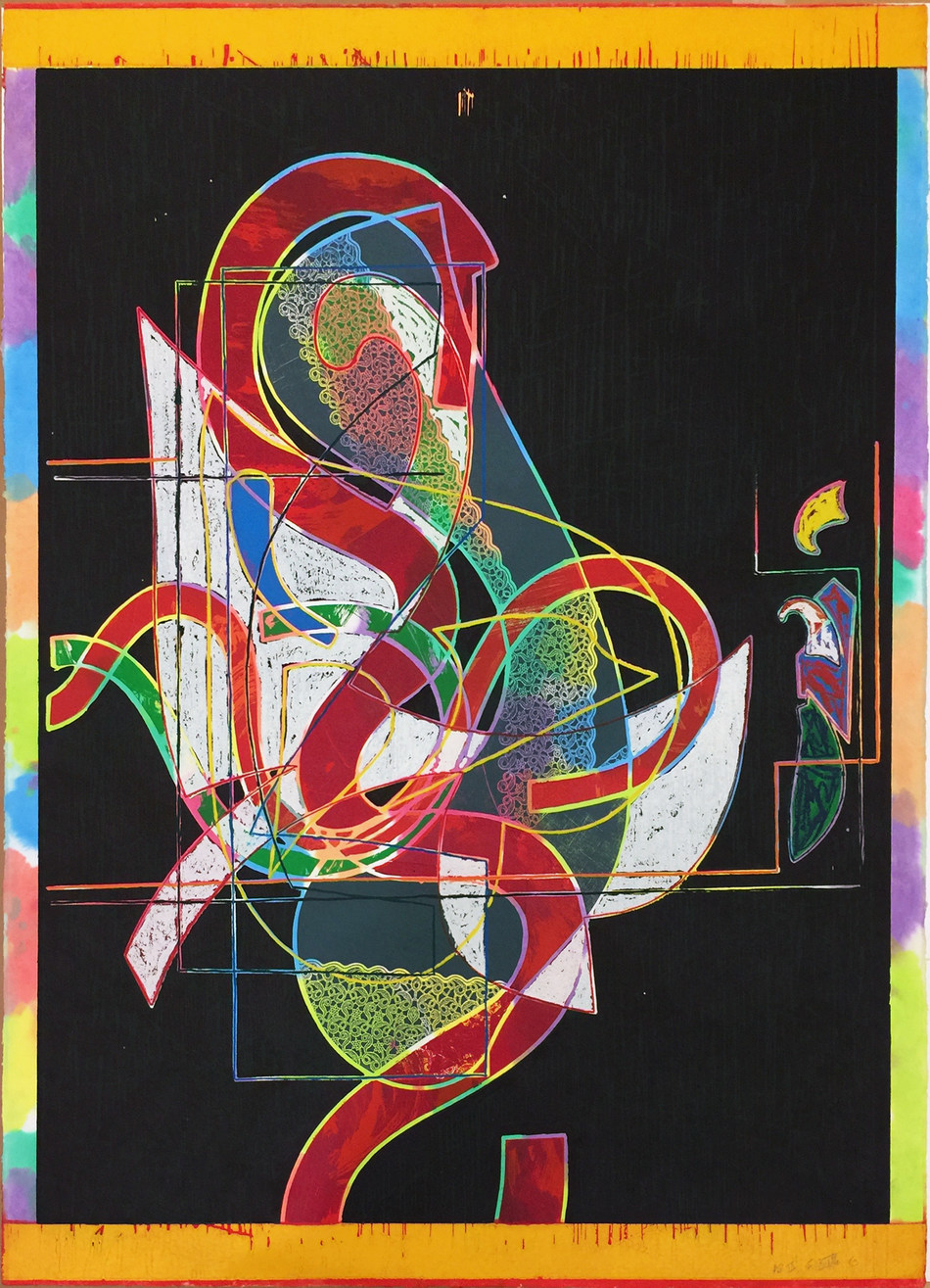 "Frank Stella, ""Pergusa Three,"" 1983, Relief, woodcut on white TGL, handmade, hand-colored paper, 66"" x 52"", Edition of 30 - on view at Booth 307, Art Palm Springs, Jonathan Novak Contemporary Art"