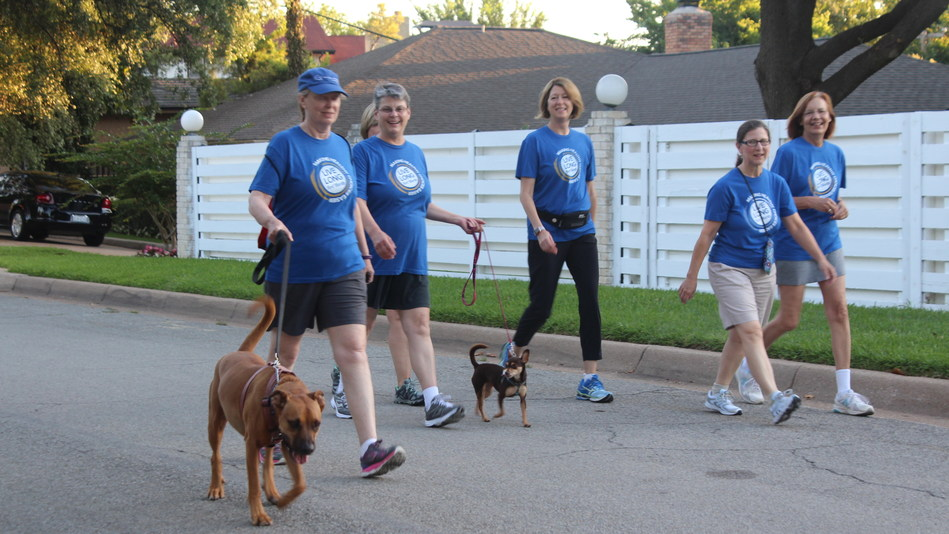 "Blue Zones Project, a community well-being initiative impacting 2.2 million Americans,  inspired an entire Fort Worth, Texas, neighborhood to develop stronger social connections. White Lake Hills residents formed small groups called Moias--including the 7 a.m. Walkers, pictured here--to build accountability for healthy behaviors. ""Good relationships are central to well-being,"" said Linda Fulmer, second from left."