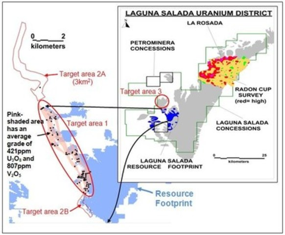 Figure 1.  Map showing the location of the gravel plain that contains the Laguna Salada resource (footprint shown in blue), the La Rosada exploration area, and the area that has been covered with a radon cup survey.  The target areas for additional higher-grade channels in the lower part of the gravel are shown in red. (CNW Group/U3O8 Corp.)