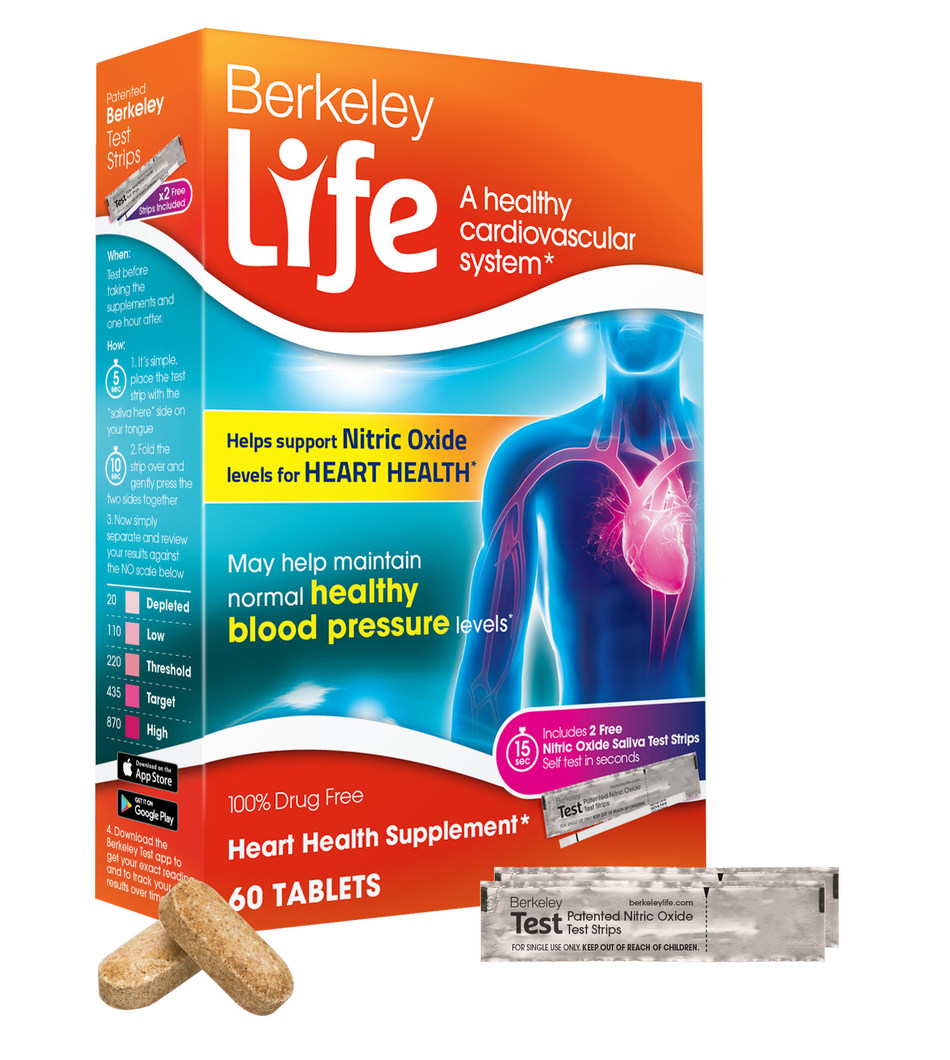 Berkeley Life Heart Health supplement, now available at retail locations nationwide, contains key ingredients proven to support the body's natural production of nitric oxide - an important molecule for cardiovascular health.