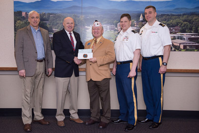 Al Lipphardt, former state commander of the VFW Department of Georgia, (center) presented a $10,000 donation Feb. 3 to Dr. Billy Wells, senior vice president for leadership and global engagement at the University of North Georgia and chairman of the GWWICC (second from left). Also pictured are (left to right) Keith Antonia, associate vice president for military programs at UNG; Army Col. Gery Cummings, professor of military science; and Army Maj. Steven Devitt, military science instructor.