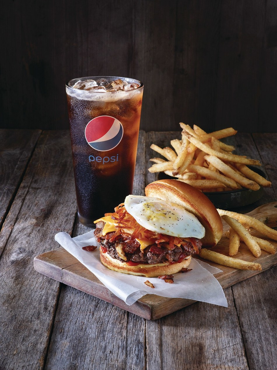 """For a limited time only, burger lovers and sports fans alike are invited to enjoy the Applebee's All-in Burger Meal Deal - one of four featured burgers, fries and a Pepsi for only $9.99 - for lunch at their local Applebee's, and join the """"All-in Burger Debate"""" for a chance to win great prizes."""