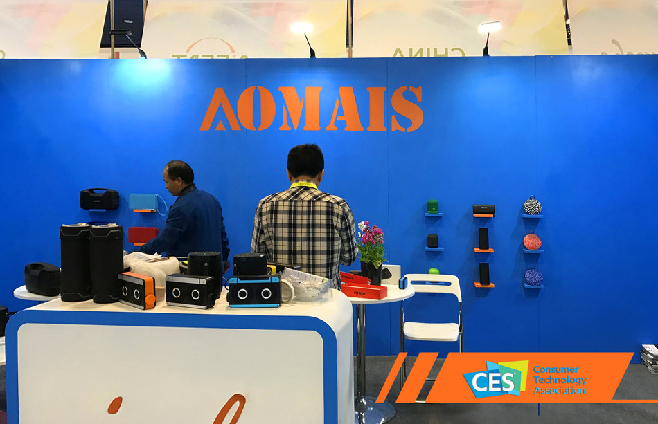 AOMAIS' IPX7-designated bluetooth speakers took center stage at CES 2017