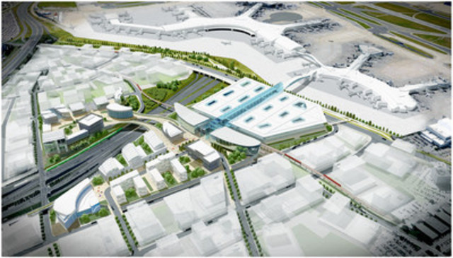 Proposed concept for regional transit centre at Toronto Pearson International Airport (CNW Group/Greater Toronto Airports Authority)