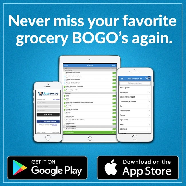 The JustBOGOS app, available for iPhone, iPad and Android, keeps Users informed with all the current Buy One, Get One deals at your local supermarkets.