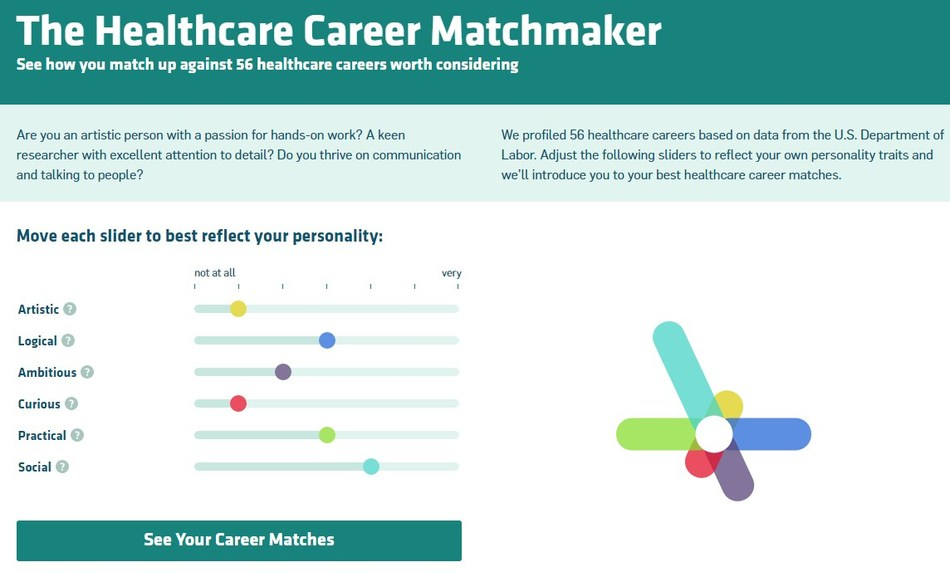 Move six different personality sliders to best mirror your personality and we will create your top healthcare career matches using data from the U.S Department of Labor.