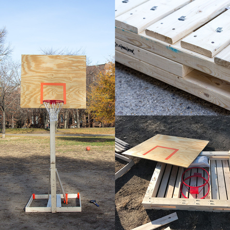 PlayPallets are innovative shipping pallets that can be rebuilt into youth sports equipment after dropping supplies to refugee camps