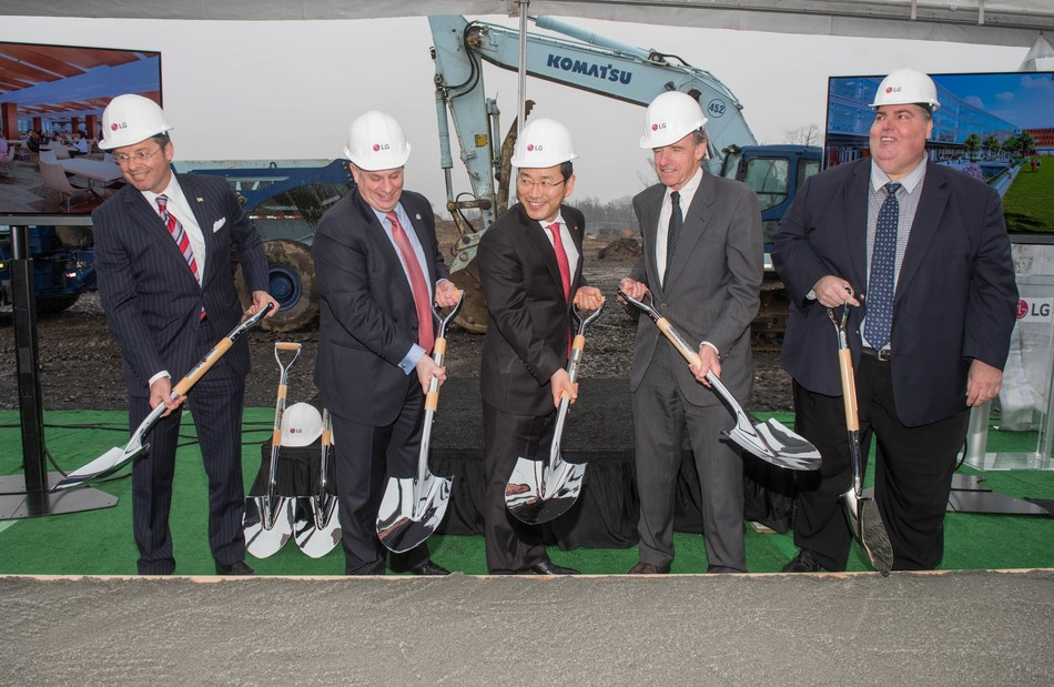 ENGLEWOOD CLIFFS, N.J. Feb. 7, 2017 - Breaking ground for the new LG North American Headquarters are (l-r) Mario Kranjac, Englewood Cliffs Mayor; James Tedesco III, Bergen County Executive; William Cho, CEO of LG Electronics North America; Laurance Rockefeller, President American Conservation Association; and Rick Sabato, President Bergen County Building and Construction Trades Council