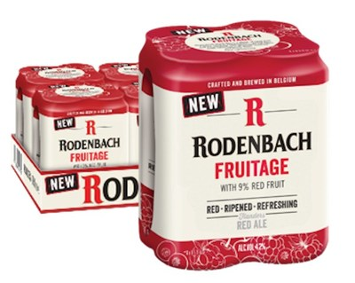 RODENBACH Fruitage - a new, refreshing offering from the iconic Belgian brewer. 4.2% ABV blended Rodenbach with fruit enhancements. Sold in 4-packs.