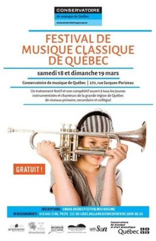 Le Conservatoire de musique de Québec présente le tout premier Festival de musique classique de Québec, un événement non compétitif et entièrement gratuit qui se déroulera les 18 et 19 mars 2017. Inscrivez-vous avant le 6 mars! (Groupe CNW/Conservatoire de musique et d'art dramatique du Québec)