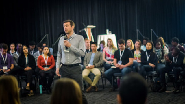 Boris Martin, EWB CEO, Speaking to Young Canadians at Annual Conference in Edmonton (CNW Group/Engineers Without Borders Canada)