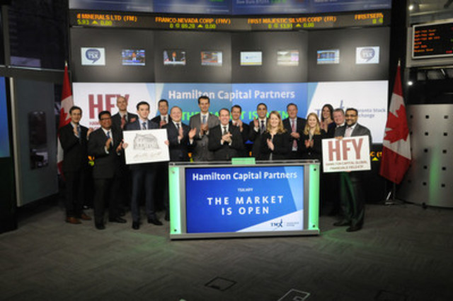 Hamilton Capital Partners, including Managing Partner, Rob Wessel, joined Dani Lipkin, Head, Business Development, Exchange Traded Funds, Closed-End Funds, and Structured Notes, TMX Group to open the market to launch Hamilton Capital Global Financials Yield ETF (HFY). Hamilton Capital is an investment manager headquartered in Toronto, specializing in equity investments in financial services. HFY commenced trading on Toronto Stock Exchange on February 7, 2017. (CNW Group/TMX Group Limited)