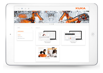 The KUKA Marketplace (shop.kuka.com) lets customers browse and purchase KUKA products, including the company's newest product, KUKA Connect - a cloud-based software platform that provides users access and analytics of their KUKA robots at any time and on any device.