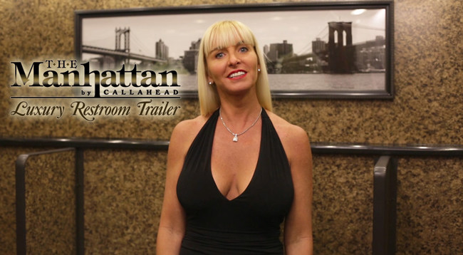 Kimberly Howard inside The Manhattan Luxury Restroom Trailer