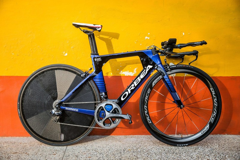 The 2017 Orbea Ordu, official time trial bike of the UnitedHealthcare Pro Cycling Team.  Equipped with the Pioneer Power Meter system. Photo Credit: Jonathan Devich / Epic Images
