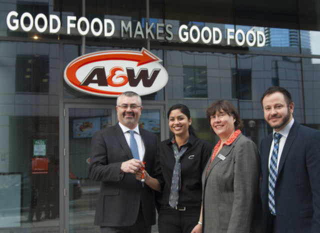 A&W awarded Barmil Mallhi with her restaurant on February 8, 2017. Mallhi is A&W's first-ever Urban Franchise Associate. Pictured here: (L-R) David Rocheleau, Regional Franchise Development Manager, A&W Food Services of Canada Inc.; Barmil Mallhi, First A&W Urban Franchise Associate; Susan Senecal, President and Chief Operating Officer, A&W Food Services of Canada Inc. and Yanick Morin, National Director, Franchise Development, A&W Food Services of Canada Inc. (CNW Group/A&W Food Services of Canada Inc.)