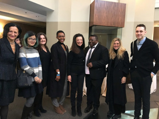 OCAD University President Dr. Sara Diamond, with students Yuling Chen, Aylan Couchie and leaf jerlefia, Carol Weinbaum, Isaac Julien, students Justyna Werbel and Aaron Moore at the Royal Ontario Museum preview of Other Destinies. Photo by Jamie McMillan (CNW Group/OCAD University)