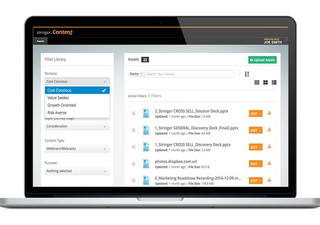 Stringer for Content funnels content into sales reps hands and provides focused access to the right content for each opportunity.