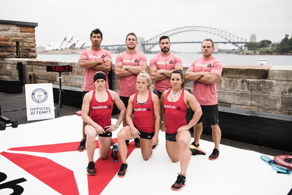 Athletes Marcus Bondi, Ricky Garard, Rob Forte, Ben Garard, Sammy Wood, Maddie Sturt and Kara Webb (L to R) ahead of their Guinness World Record attempts in Sydney